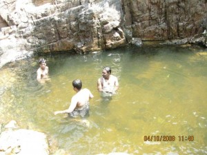 The pool with myself, Arvindh and Siva (L to R)