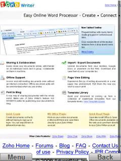 Zoho Writer Homepage
