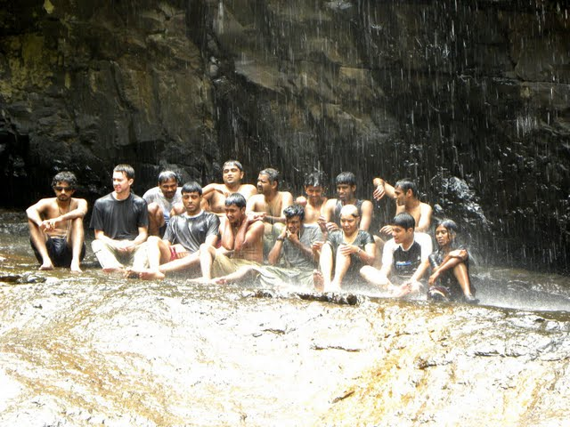 Group Photo Under the Falls