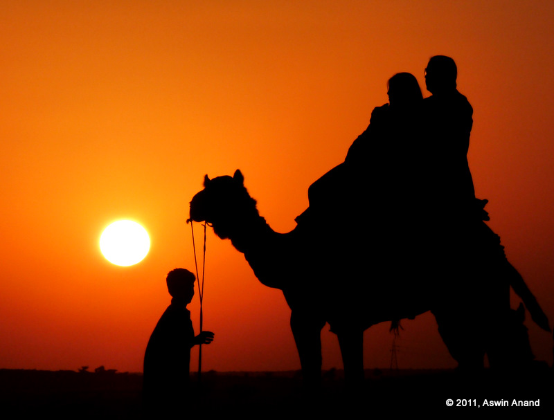Sunset in sand dunes of Rajasthan