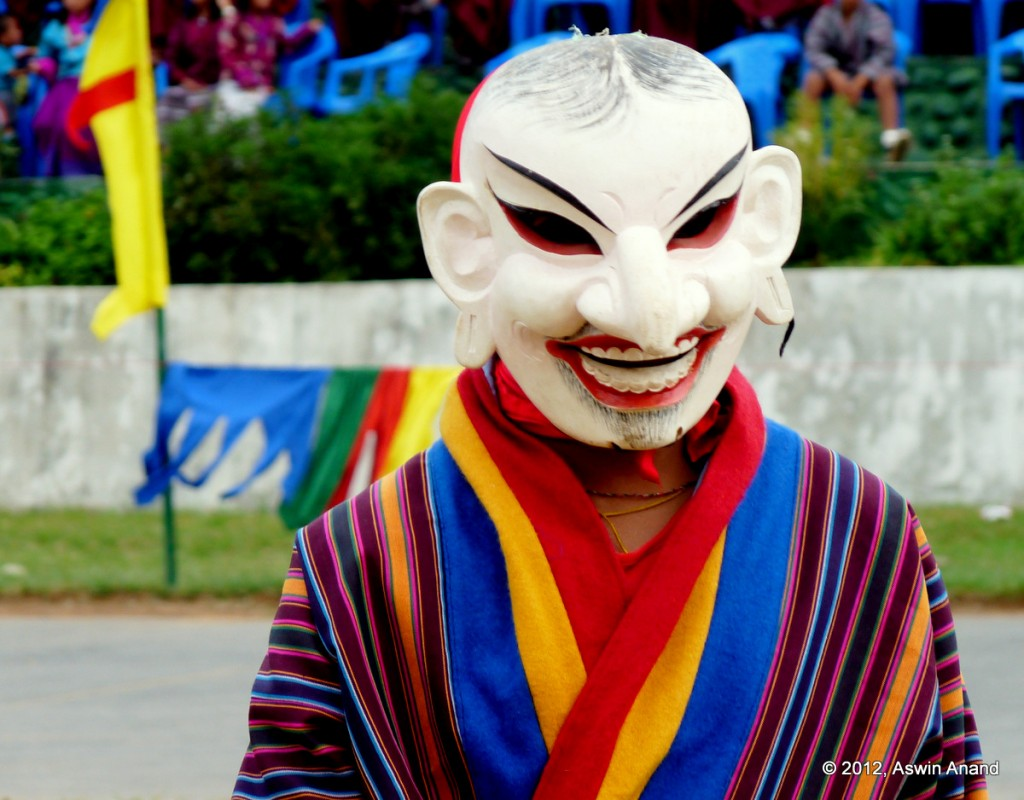 Mask dance performance at Wangdue Tsechu